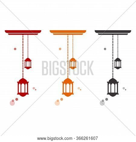 Ceiling Pendant Lamps & Chandeliers With Led Bulbs. Light Fixtures For Home. Vector Flat Icon Set. I