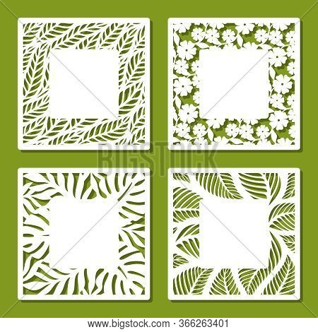 Set Of Square Frames With Openwork Floral Pattern Of Flowers And Leaves. Copy Space In The Middle. T