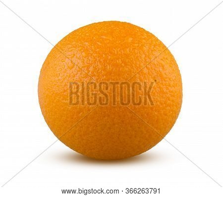 Ripe Orange With Drops Of Water Isolated On White Background. Whole Wet Orange Fruit Close Up. Fresh