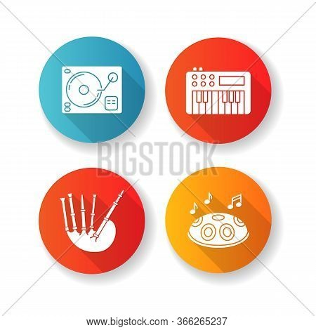 Musical Instruments Flat Design Long Shadow Glyph Icons Set. Turntablism For Dj Party Performance. S