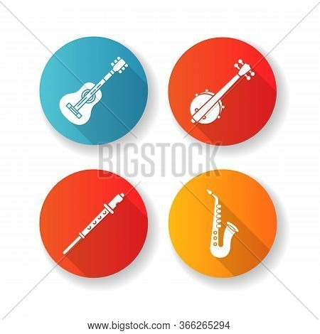 Orchestral Musical Instruments Flat Design Long Shadow Glyph Icons Set. Acoustic Guitar. Banjo For W