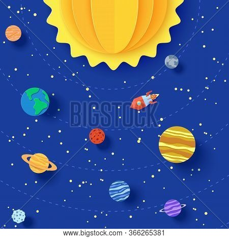 Solar System Model In Paper Cut Style. Cartoon Planets, Red Polygonal Rocket And Origami Ufo. 3d Vec
