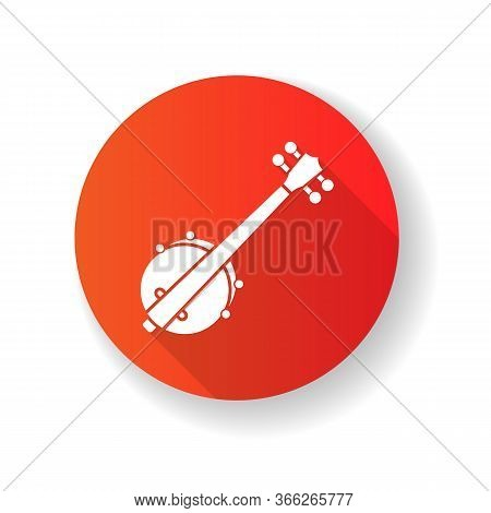 Banjo Red Flat Design Long Shadow Glyph Icon. Traditional Western Musical Instrument. Bluegrass Band