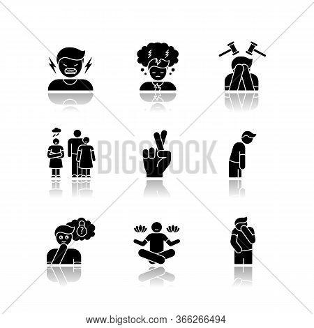 Feeling Drop Shadow Black Glyph Icons Set. Social And Moral Emotion. Psychological Treatment. Positi