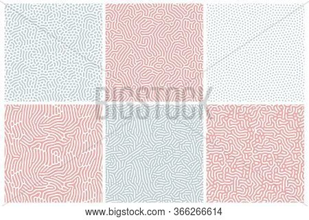 Organic Background In Bleached Red And Blue. Organic Texture With Rounded Lines, Drips. Structure Of