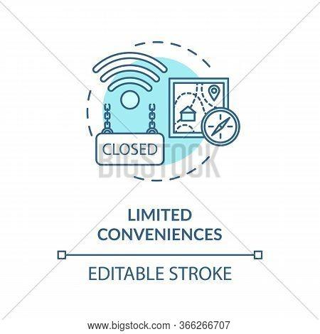 Limited Conveniences Turquoise Concept Icon. Country Living Inconvenience. Long Distance. Village Li