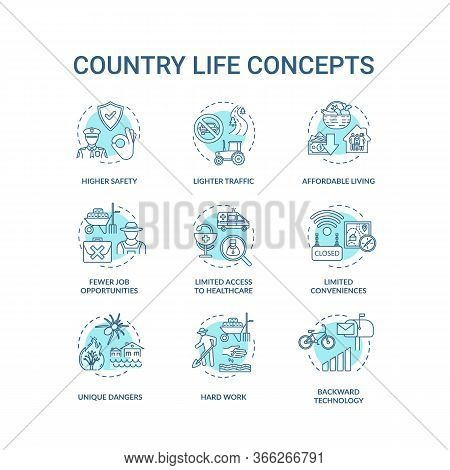 Country Life Turquoise Turquoise Concept Icons Set. Advantage And Disadvantage Of Farming. Village L
