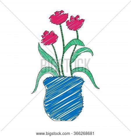 Vector Color Illustration Of A Flower. Stock Illustration In The Doodle Style On A White Background