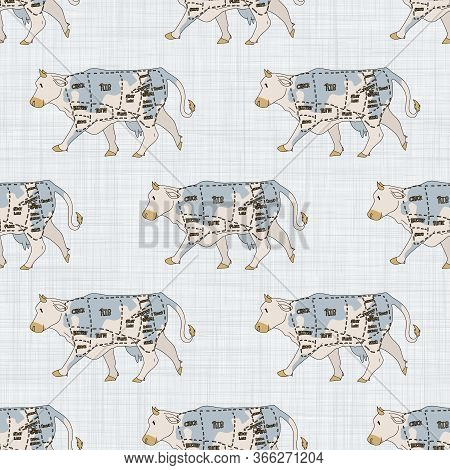 Seamless French Farmhouse Cow Cut Chart Silhouette Pattern. Farmhouse Linen Shabby Chic Style. Hand