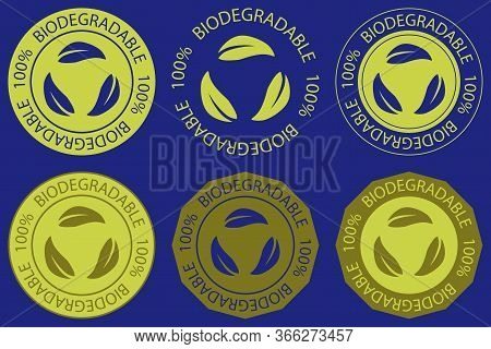 Biodegradable Icons Set. Set Of Round Stamps With Lettering 100 Biodegradable In Green Color, For Di