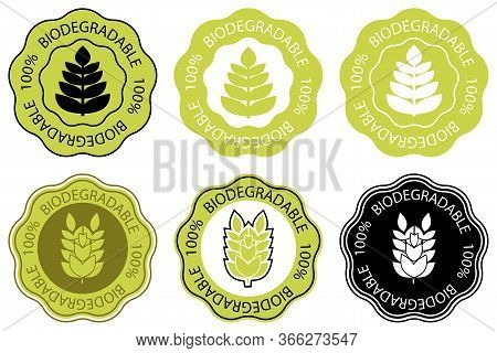 Biodegradable Icon. One Hundred Percent Biodegradable Label. Vector Illustration Isolated On White B