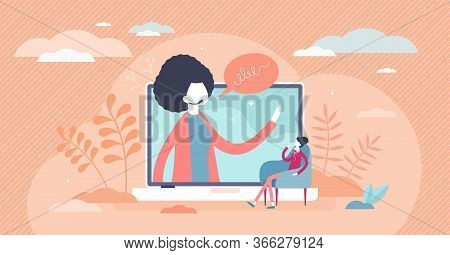Webinar Female Vector Illustration. Online Course Flat Tiny Persons Concept. Distance Seminar With W