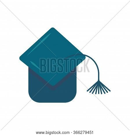 Graduate Student Hat With A Tassel. Toss The Hat Up After Graduation. Flat Vector Illustration On A