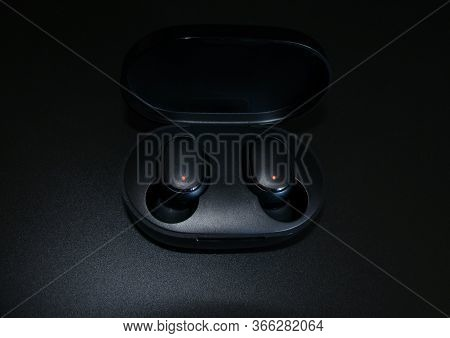 Saint-petersburg, Russia - May, 10, 2020: Photo Of Wireless Earphones Mi True Wireless Earbuds Basic