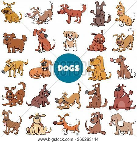 Cartoon Illustration Of Dogs And Puppies Pet Animal Characters Big Set