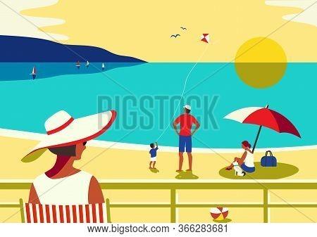 Family Seaside Leisure Relax. Ocean Scene View Landscape. Hand Drawn Pop Art Retro Style. Holiday Va