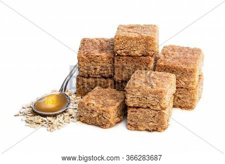 Mini  Oat And Syrup Flapjack Slices Isolated On White