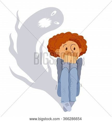 Sciophobia Fear Of Shadows Vector Illustration, Boy Is Scared By Her Own Shadow With Imaginary Scary