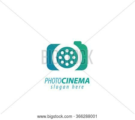 Photograph Cinema Sign Logo- White Background Illustartion Design