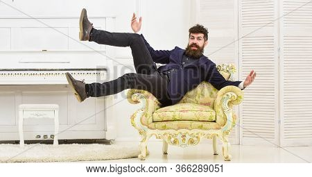 Macho Attractive And Elegant On Cheerful Face And Happy Expression. Playful Mood Concept. Man With B