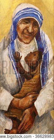 WASSERALFINGEN, GERMANY - MAY 05, 2014: Saint Mother Teresa by Sieger Koder, altar of women in St. Stephen's church in Wasseralfingen, Germany