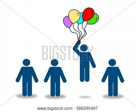 Raise up by balloon, creativity and be different concept