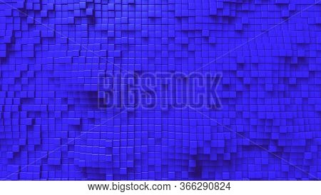Cubic Undulate Blue Background. Box Background. Abstract Colorful Cubes.