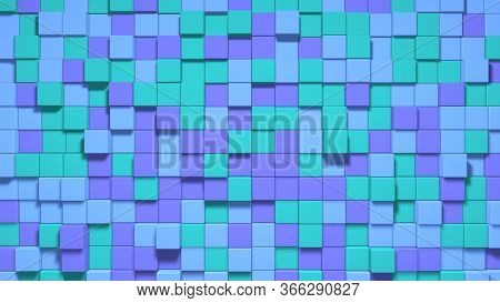 Cubic Noise Green, Blue, Vivid, Purple. Background. Unique Box. Abstract Colorful Cubes.