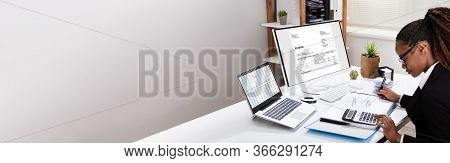 E Invoice Software On Computer. Electronic Invoices And Accounting