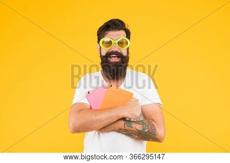 It Is My. Party For The End Of Exams. Funny Man In Party Glasses Hold Notebooks. Funny And Crazy. Ap