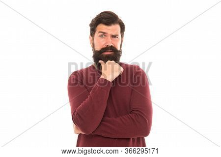 Cognitive Process. Intellectual Work. Man Stylish Hairstyle And Beard Making Decision. Businessman C