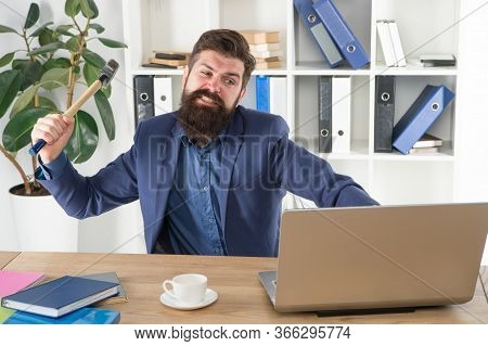 Full Of Rage. Frustrated Computer User. Businessman Express Anger. Ready To Smash. Office Life Makes