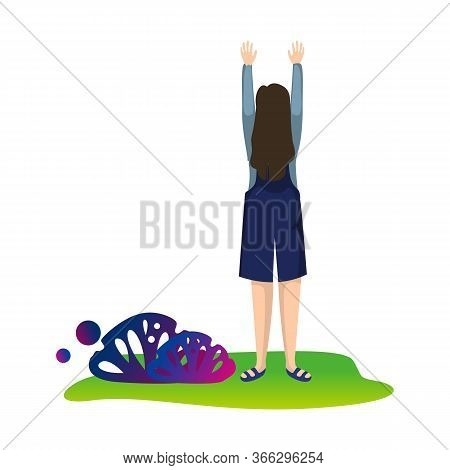 Young Woman Standing With Raising Hands, Female Character Having Fun Or Celebrating Success Flat Vec