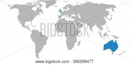 United Kingdom, Australia Countries Isolated On World Map. Light Gray Background. Business Concepts,