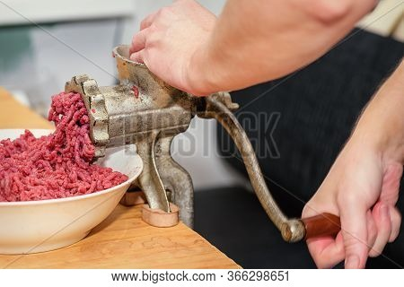 Chef Prepares Minced Meat From Fresh Meat, Background For The Store. Minced Meat.