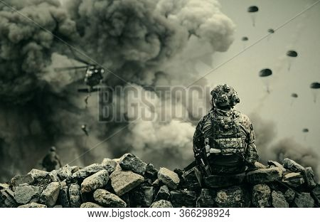 Military Helicopter And Forces In Destroyed City And Soldiers Are In Flight With A Parachute And One