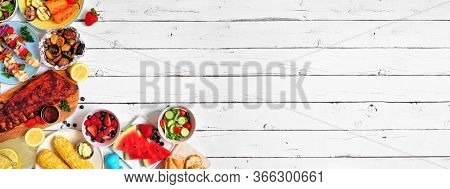 Summer Bbq Or Picnic Food Corner Border. Assortment Of Grilled Meat, Vegetables, Fruits, Salad And P