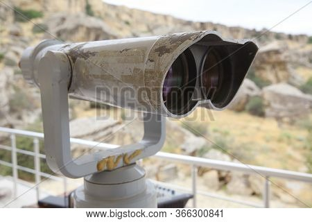 Gobustan National Park. Tourist Binoculars At Gobustan . Stationary Binoculars. Gadgets At Viewing G