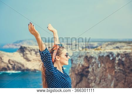 Travel To The Sea, Freedom Enjoyment Concept. Close Up Portrait Beautiful Happy Free Young Woman Fas