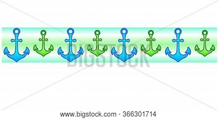Anchors. Seamless Vector Border Ribbon With Green And Blue Anchors. Marine Divider With Anchors On A