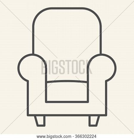 Soft Chair Thin Line Icon. Comfortable Classic Armchair Symbol, Outline Style Pictogram On Beige Bac