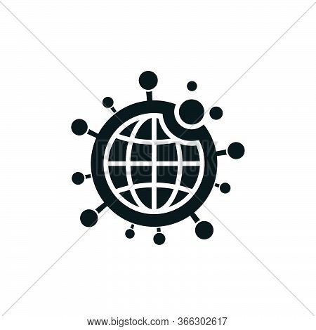 Coronavirus Covid-19 Infection Icon With World Map On White Background. Shape Refers To Spread Of Vi