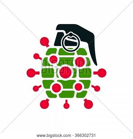 Novel Coronavirus Grenade Bomb Vector Icon. Bomb Shaped Spotted Symbol On White Background.