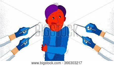 Dentophobia Fear Of Dentist Doctor And Painful Teeth Fixing Vector Illustration, Boy Surrounded With