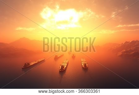 Group tankers move into the sea, 3d render