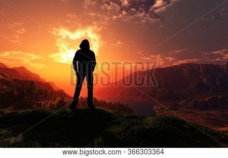Silhouette of a man against the background of the landscape.3d render