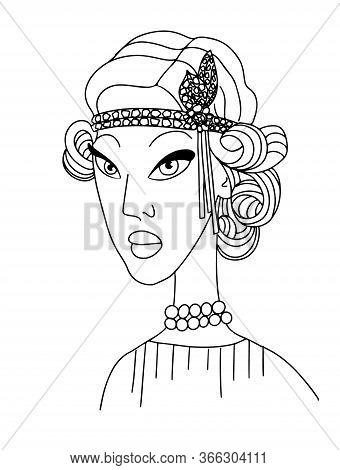 Retro Portrait Of A Beautiful Gatsby Woman. Vogue Fashion Line Style Vector Illustration