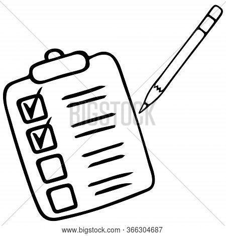 Action plan point by point. Sketch. Voting bulletin. Taking a survey or test. Check the box with a pencil. Vector illustration. Outline on an isolated background. Doodle style. Work online in quarantine. Form to fill. Perform a task. Official letterhead.