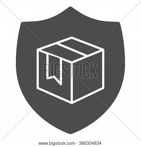 Box With Security Shield Solid Icon, Delivery And Logistics Symbol, Guaranteed Parcel Delivery Vecto