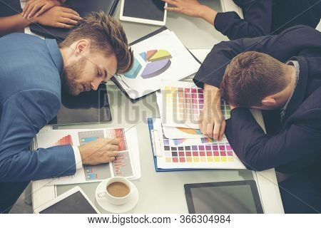 Worker Lazy Person Sleep Exhausted With Tired Meeting. Diversity Group Of Business People Sleeping I